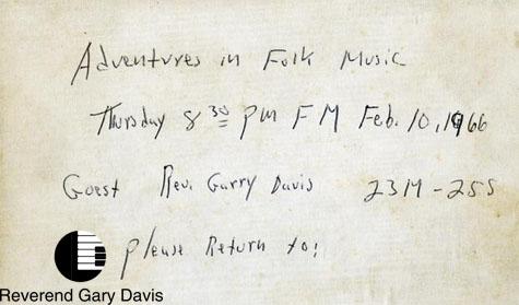Reverend Gary David Live Wnyc 1966